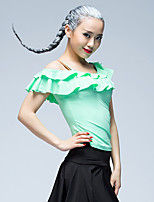 Latin Dance Tops Women's Training Ice Silk Pleated 1 Piece Short Sleeve Natural Tops