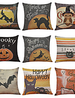 Set of 9 Halloween Spooky Pattern Linen Cushion Cover Home Office Sofa Square Pillow Case Decorative Cushion Covers Pillowcases Without Insert(18*18)