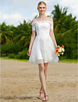 2017 A-line Wedding Dress - Little White Dress Floral Lace Short/Mini Off-the-shoulder Tulle with Appliques Sashes/ Ribbons
