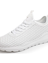 Men's Sneakers Comfort Spring Fall Tulle Outdoor Lace-up Flat Heel White Black Under 1in