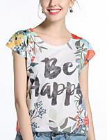 Tee-shirt Femme,Imprimé Sortie Décontracté / Quotidien Sexy Chic de Rue Printemps Eté Manches Courtes Col Arrondi Polyester Moyen