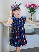 Девичий Платье Цветочный принт