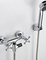 Color Changing Modern/Contemporary Shower Only Handshower Included LED indicator with  Ceramic Valve Two Handles Two Holes for  Chrome  Shower Faucet