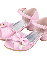 Girls' Flats Comfort Flower Girl Shoes Leatherette Summer Fall Casual Dress Comfort Flower Girl Shoes Buckle Flat Heel Blushing Pink White