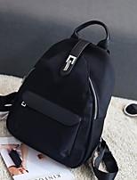 Women Backpack Nylon All Seasons Casual Round Zipper Black