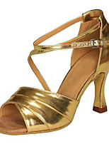 Women's Latin Faux Leather Sandals Performance Buckle Criss-Cross Cuban Heel Gold 2