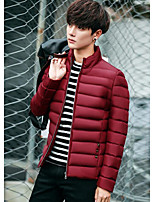 Men's Padded Coat,Simple Casual Solid Dots-Polyester Polyester Long Sleeve