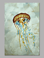 IARTS® Hand Painted Modern Abstract Jellyfish Swim in the Sea Field Oil Painting On Canvas with Stretched Frame Wall Art For Home Decoration