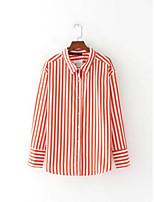 Для женщин На выход На каждый день Весна Осень Рубашка Рубашечный воротник,Секси Простое Уличный стиль Полоски Длинный рукав,Хлопок