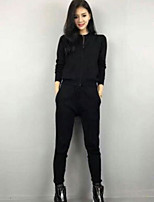 Women's Casual/Daily Simple Summer Hoodie Pant Suits,Solid Crew Neck Long Sleeve