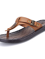 Men's Slippers & Flip-Flops Comfort Light Soles PU Summer Casual Comfort Light Soles Flat Heel Dark Brown Brown Black Flat