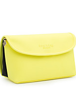 Women Cosmetic Bag PU All Seasons Casual Flap Zipper Yellow