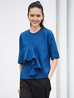 Tee-shirt Femme,Couleur Pleine Quotidien Décontracté simple Demi Manches Col Arrondi Polyester