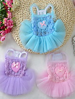 Dog Dress Dog Clothes Casual/Daily Birthday Princess Light Blue Blushing Pink Purple