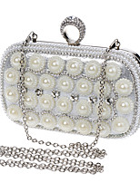 Women Evening Bag Polyester All Seasons Wedding Event/Party Formal Baguette Rhinestone Pearl Detailing Clasp LockRuby Silver Black Gold