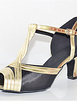 Women's Latin Silk Sandals Performance Buckle Cuban Heel Black/Gold 2