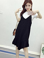Women's Daily Simple Summer T-shirt Dress Suits,Solid Round Neck Short Sleeve