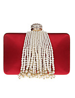 Women Evening Bag PU All Seasons Wedding Event/Party Formal Baguette Rhinestone Pearl Detailing Clasp Lock Champagne Black Red Apricot