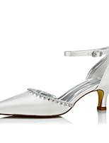 Mujer Zapatos de boda Confort Seda Primavera Otoño Boda Vestido Fiesta y Noche Confort Cadena Con Cordón Tacón Bajo Marfil 5 - 7 cms