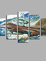 5pcs Vintage Airplane Painting Fancy Home Crafts Wallpaper Snow Mountain Scene Posters For Livingroom Decoration Murals Frameless