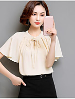 Women's Casual/Daily Simple Summer Blouse,Solid Round Neck Short Sleeve Others Sheer