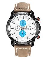Men's Sport Watch Fashion Watch Japanese Quartz Calendar Genuine Leather Band Brown Grey