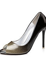 Feminino Saltos Chanel Couro Ecológico Primavera Casual Chanel Dourado Preto Prata Vermelho 7,5 a 9,5 cm