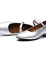 Women's Latin Patent Leather Flats Heels Practice Silver Black Gold