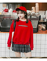 Women's Petite Daily Sports Formal Tops Sweatshirt Solid Hearts Short Finger Crew Neck Removable Lining strenchy Cotton PolyesterLong
