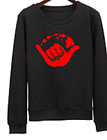 Women's Going out Sweatshirt Solid Print Round Neck Micro-elastic Cotton Long Sleeve Spring Fall