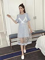 T-shirt Vestiti Completi abbigliamento Da donna Casual Casual Estate,Tinta unita Di pizzo Rotonda Manica corta Media elasticità