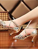 Women's Dance Sneakers PU Sandals Sneakers Indoor Chunky Heel Ruby Silver Gold 2