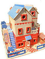 Puzzles Kit de Bricolage Puzzles 3D Blocs de Construction Jouets DIY  Architecture Autre Bois Naturel