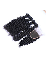 100% Unprocessed Short Size 4pcs 400g Natural Black Deep Wave Brazilian Remy Human Hair Wefts with 1Pcs 4x4 Lace Top Closures Human Hair Extensions