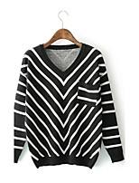 Standard Pullover Da donna-Per uscire Casual Semplice Moda città A strisce A V Manica lunga Acrilico Primavera Autunno SottileMedia