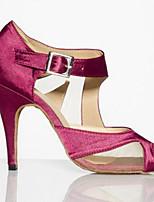 Для женщин Танцевальные кроссовки Натуральная кожа Сандалии Кроссовки Для открытой площадки На толстом каблуке Пурпурный 5 - 6,8 см