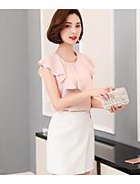 Для женщин На каждый день Лето Блуза V-образный вырез,Простое Однотонный С короткими рукавами,Хлопок
