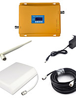GSM 900mhz 3G W-CDMA 2100mhz Dual Band Signal Booster 2G 3G Mobile Phone Signal Repeater with Panel Antenna / Whip Antenna / 15m Cable / Golden