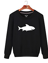 Men's Daily Sweatshirt Solid Print Round Neck Micro-elastic Cotton Long Sleeve Winter