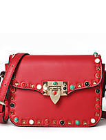 Women Shoulder Bag PU All Seasons Wedding Event/Party Casual Sports Formal Outdoor Office & Career Flap Rivet Bead Clasp LockBlushing
