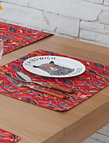 American Modern Concept Red Printing Cotton And Linen Table Placemat 32*45cm