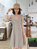 Women's Daily Soak Off Summer T-shirt Dress Suits,Plaid/Check Round Neck Short Sleeve