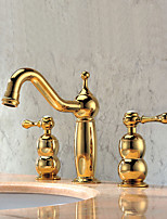 Luxury Widespread with Double Handles Three Holes for  Ti-PVD Deck Mounted Golden Bathroom Basin Sink Faucet