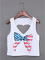 Women's Daily Casual/Daily Simple Summer Tank TopPrint Round Neck Sleeveless Cotton Thin