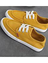 Для женщин Кеды Удобная обувь Полотно Весна Повседневные Черный Серый Желтый Розовый Светло-синий На плоской подошве