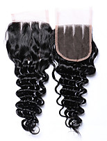 8-20 Inches Grade 7A Natural Black Deep Wave 4*4 Hair Closures 100% Unprocessed Brazilian Human Hair Free Part and 3 Part 4x4 Swiss Lace Closures