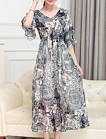 Courte Robe Femme Sortie Décontracté / Quotidien Grandes Tailles simple Bohème,Tartan Coeur Maxi Midi Manches Courtes Autres EtéTaille