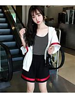 Для женщин Повседневные Лето Как у футболки Брюки Костюмы Простой Полоски 1/2 Length Sleeve Слабоэластичная