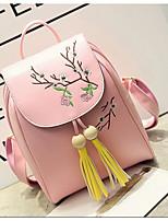 Women Sports & Leisure Bag PU All Seasons Casual Round Zipper Blushing Pink Black White