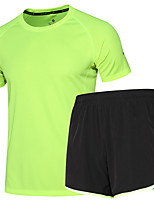 Homme Tee-shirt et Shorts de course Manches Courtes Evacuation de l'humidité Séchage rapide Ensemble de Vêtements pour Course Exercice &